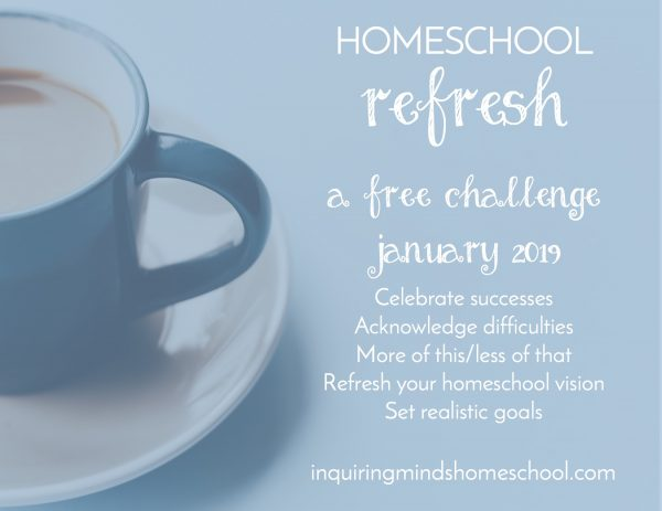 homeschool refresh graphic with coffee cup